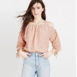 Madewell cold shoulder top red white stripp